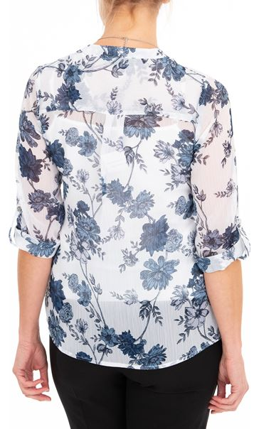 Anna Rose Printed Chiffon Blouse With Necklace White/Multi Blue - Gallery Image 2