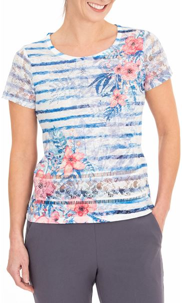 Anna Rose Lace Sleeve Printed Top Blue/Multi