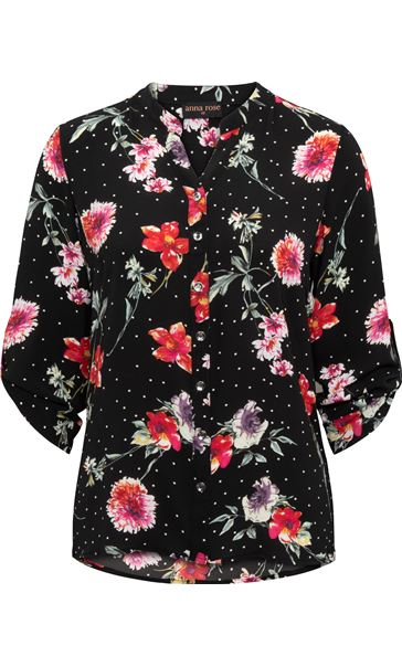 Anna Rose Floral Spot Blouse Black/Red - Gallery Image 3