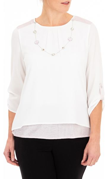 Anna Rose Layered Top With Necklace Ivory