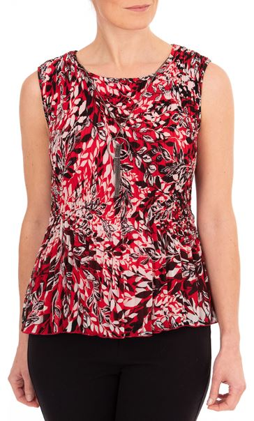 Anna Rose Pleated Top With Necklace Red/Black