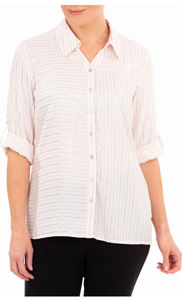 Anna Rose Striped Shirt Coral/Ivory