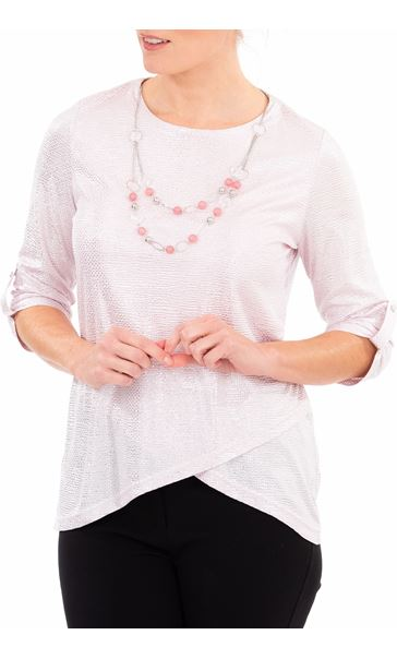 Anna Rose Shimmer Top With Necklace Pink/Silver