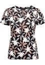 Anna Rose Flower Print Stretch top Black/Coral - Gallery Image 3