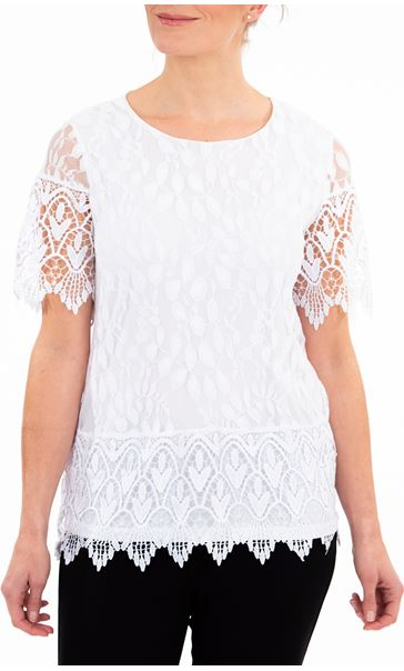 Anna Rose Lace And Crochet Top Ivory