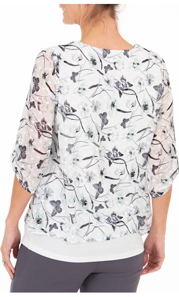 Anna Rose Butterfly Print Top With Necklace Ivory/Mint - Gallery Image 2