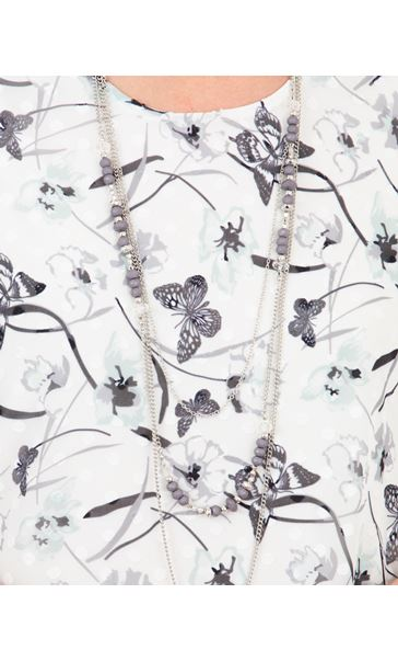 Anna Rose Butterfly Print Top With Necklace Ivory/Mint - Gallery Image 4