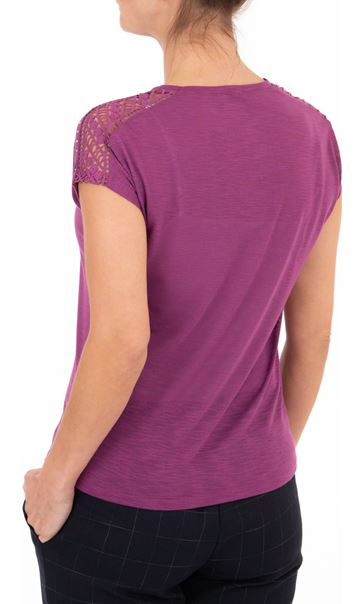 Anna Rose Embellished Short Sleeve Jersey Top Grape - Gallery Image 2
