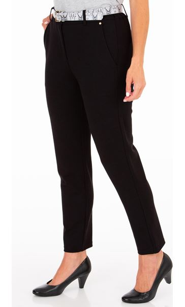 Anna Rose Tapered Leg Belted Trousers Black