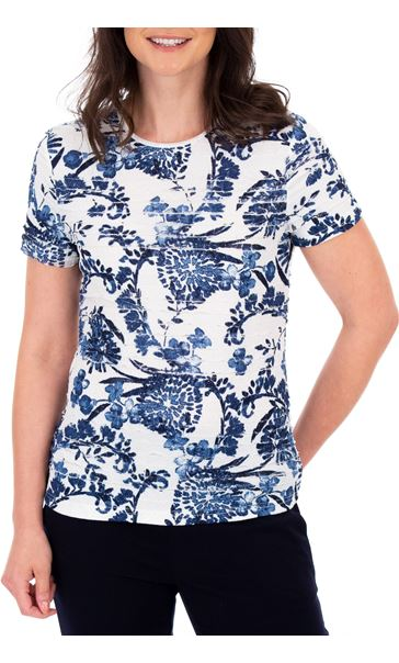 Anna Rose Floral Frill Detail Top Ivory/Blue