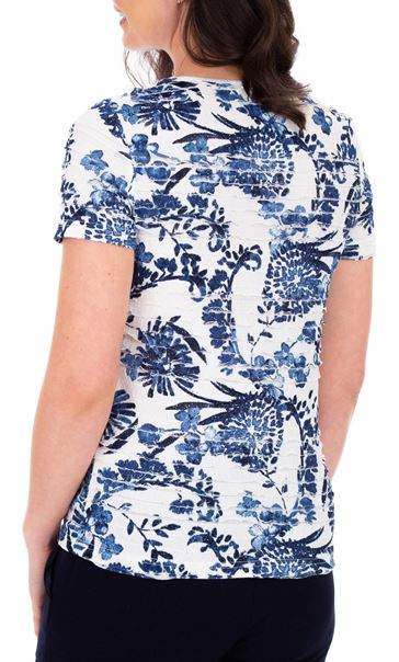 Anna Rose Floral Frill Detail Top Ivory/Blue - Gallery Image 2