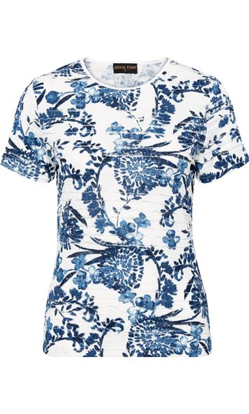 Anna Rose Floral Frill Detail Top Ivory/Blue - Gallery Image 3