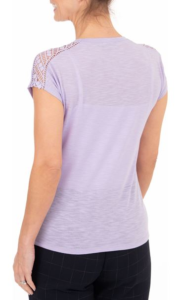 Anna Rose Embellished Short Sleeve Jersey Top Soft Lilac - Gallery Image 2