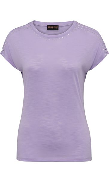 Anna Rose Embellished Short Sleeve Jersey Top Soft Lilac - Gallery Image 3
