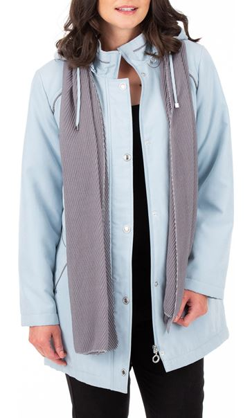 Anna Rose Hooded Coat With Scarf Grey Microfibre