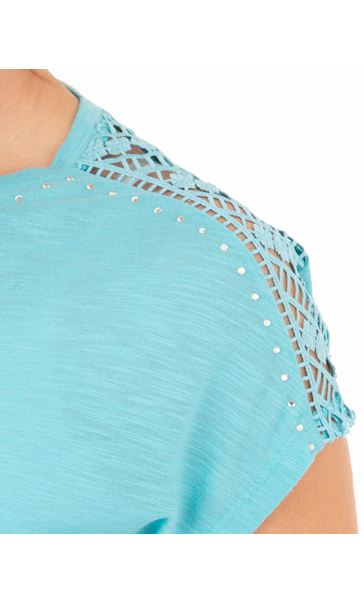 Anna Rose Embellished Short Sleeve Jersey Top Turq - Gallery Image 4
