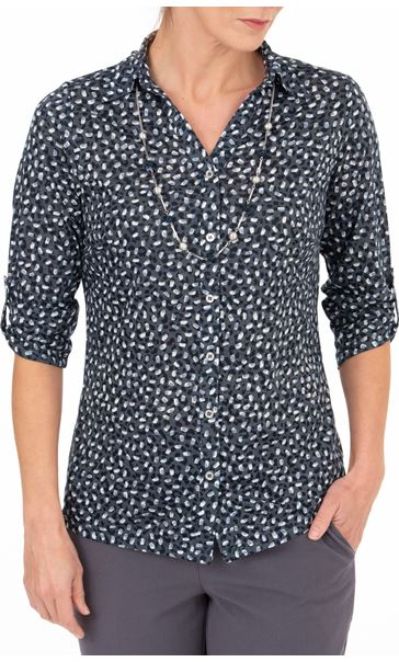 Anna Rose Printed Blouse With Necklace Navy/Ivory