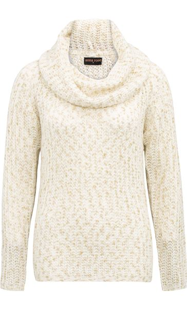 Anna Rose Shimmer Cowl Neck Knit Top Ivory/Gold - Gallery Image 3