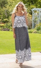 Sleeveless Textured Print Maxi Dress
