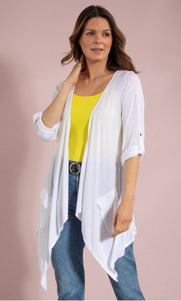 Jersey And Lace Open Cardigan White