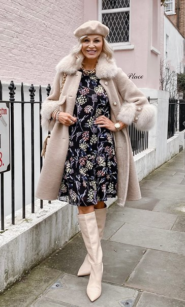 Layered Hem Printed Chiffon Dress