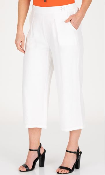 Cropped Wide Leg Pull On Trousers Ivory