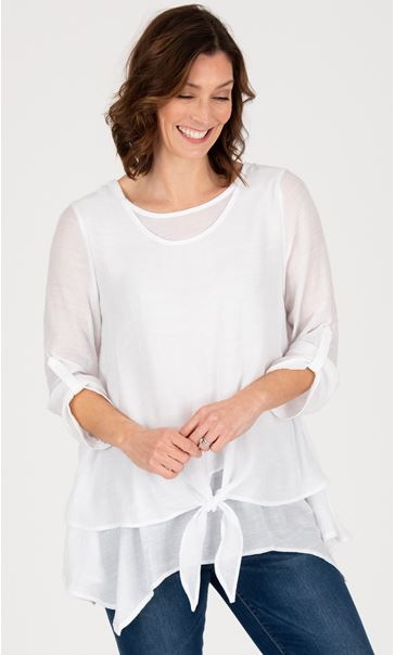 Double Layer Tie Front Dip Hem Tunic