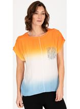 Embellished Short Sleeve Ombre Top