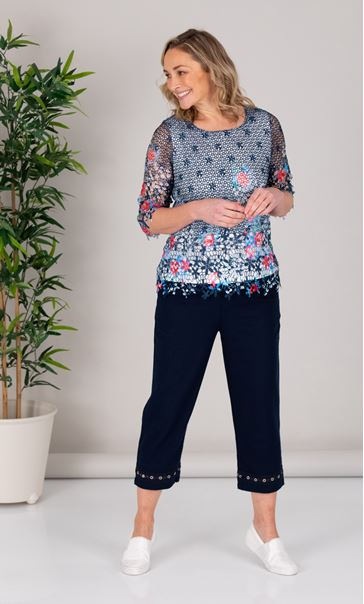 Anna Rose Border Print Lace Layer Top
