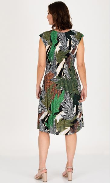 Botanical Printed Pleat Dress