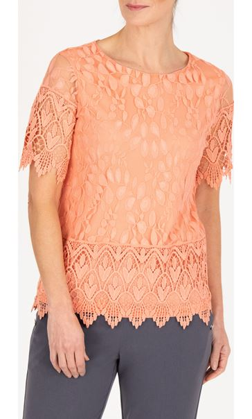 Anna Rose Lace And Crochet Top - Peach
