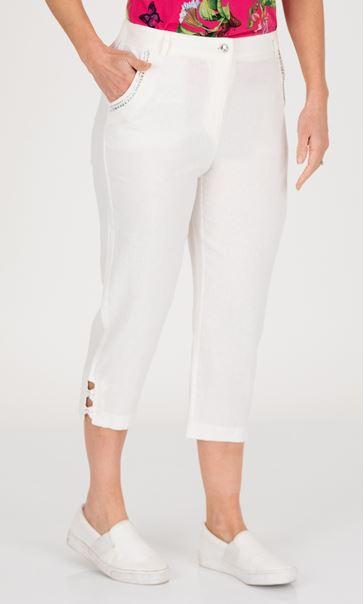 Anna Rose Embellished Cropped Linen Blend Trousers White
