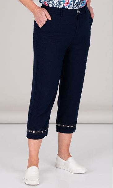 Anna Rose Cropped Linen Blend trousers Navy