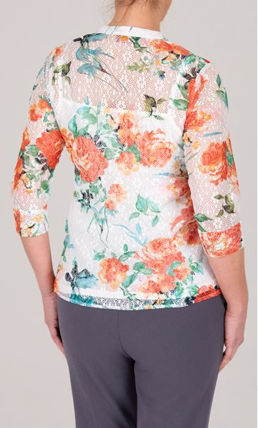 Anna Rose Floral Printed Lace Blouse