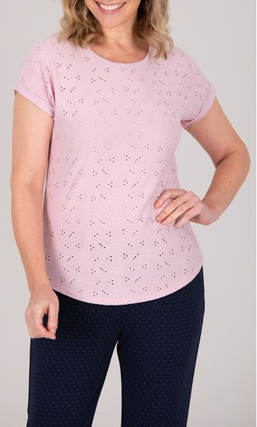 Anna Rose Broderie Anglaise Jersey Top