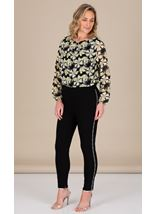 Pull On Slim Leg Embellished Trousers