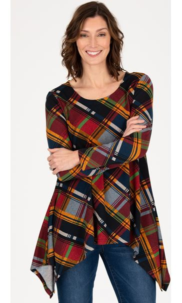 Dip Hem Checked Brushed Knit Top Check