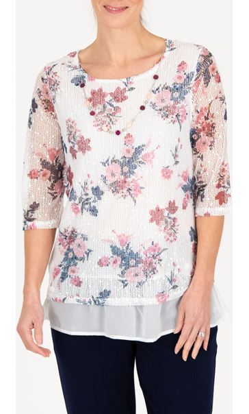 Anna Rose Printed Mesh Layered Top With Necklace