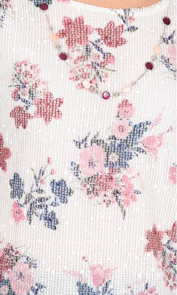 Anna Rose Printed Mesh Layered Top With Necklace Ivory/Pink - Gallery Image 3