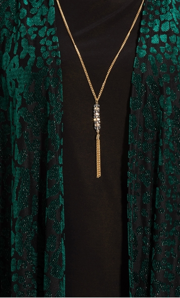 Anna Rose Two Piece Top With Necklace Green/Gold - Gallery Image 4