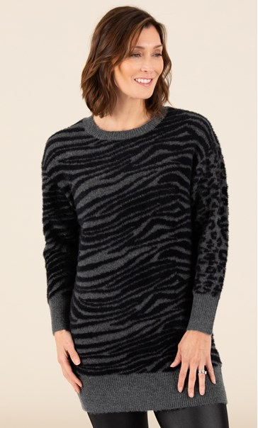 Animal Print Feather Knit Top Grey/Black - Gallery Image 3