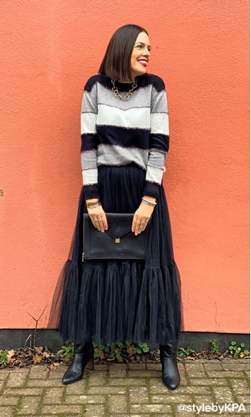 Sparkle And Stripe Jumper - Black/Grey/Ivory