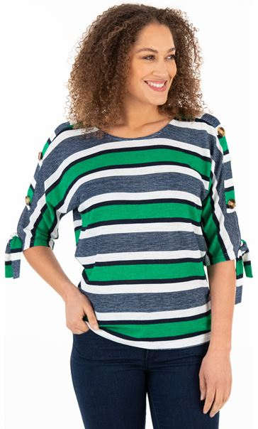 Striped Knit Top Green/Navy
