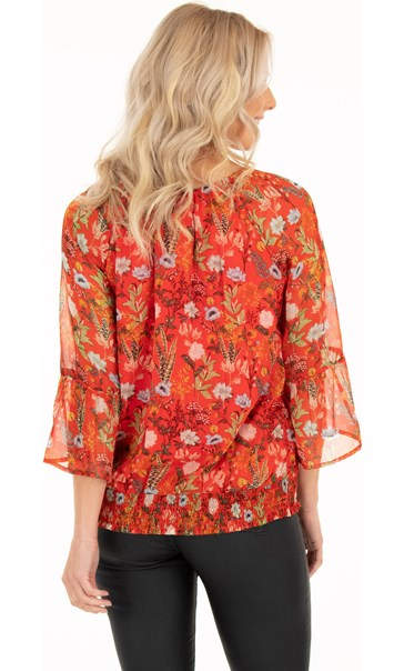 Botanical Print Chiffon Top