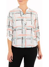 Anna Rose Checked Three Quarter Sleeve Top