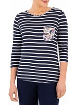 Anna Rose Striped And Floral Jersey Top