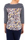 Anna Rose Striped And Floral Jersey Top Midnight/Multi - Gallery Image 2