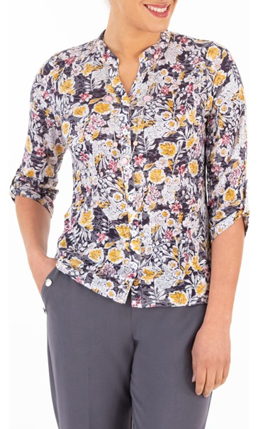 Anna Rose Floral Print Jersey Blouse With Necklace