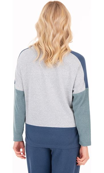 Supersoft brushed Colourblock Raglan Top - Blue