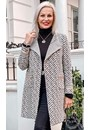 Open Front Knitted Coat Black/Ivory - Gallery Image 1